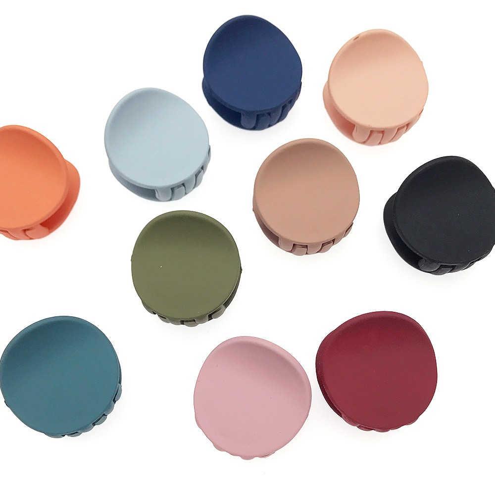 Pinces à cheveux en acrylique pour femmes, griffes mates, couleur unie, géométrique, mignonnes, rondes, accessoires de coiffure en crabe