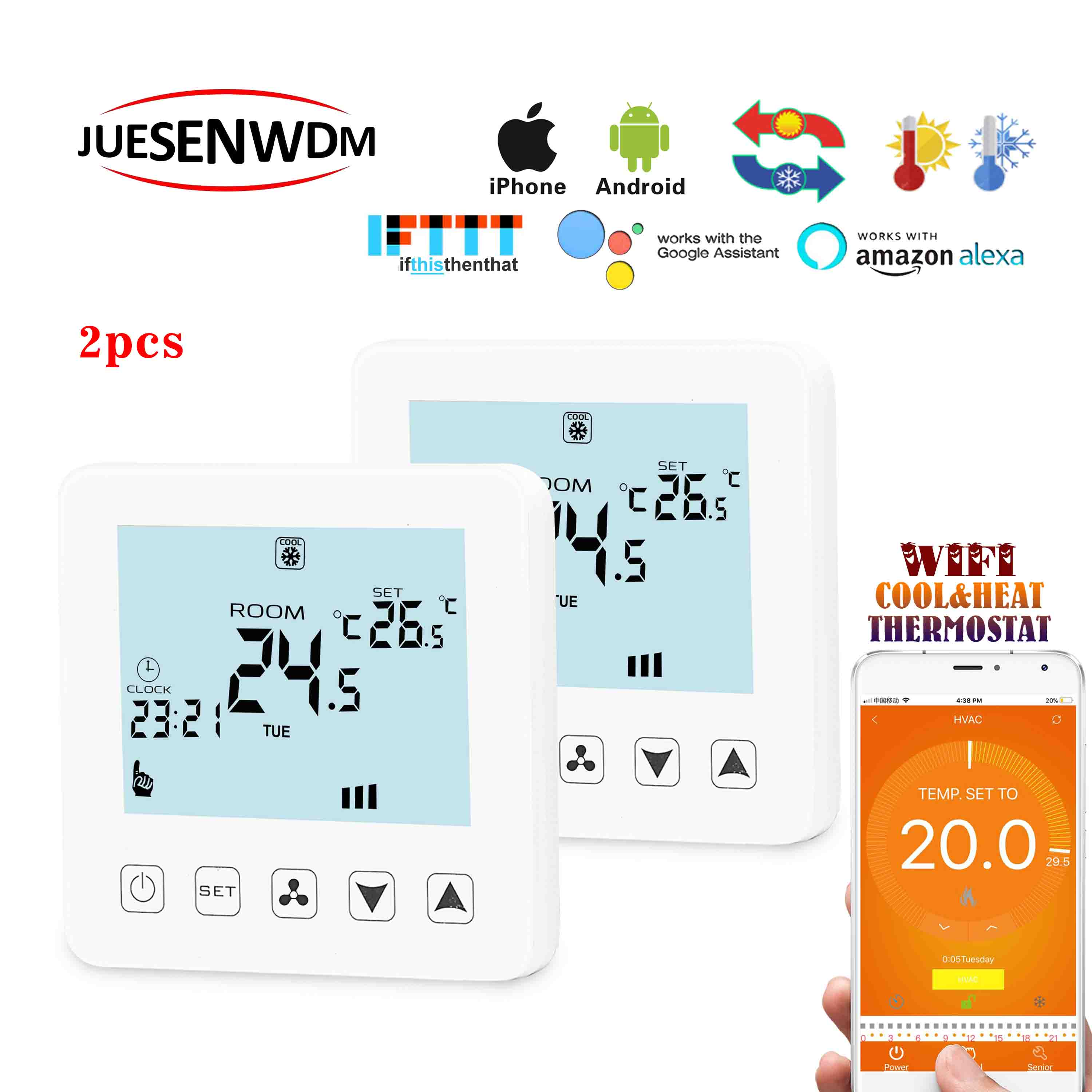 2PCS Weekly Programmable 2P&4P Fan Coil Wifi Smart Thermostat Alexa Google Home With Children Lock