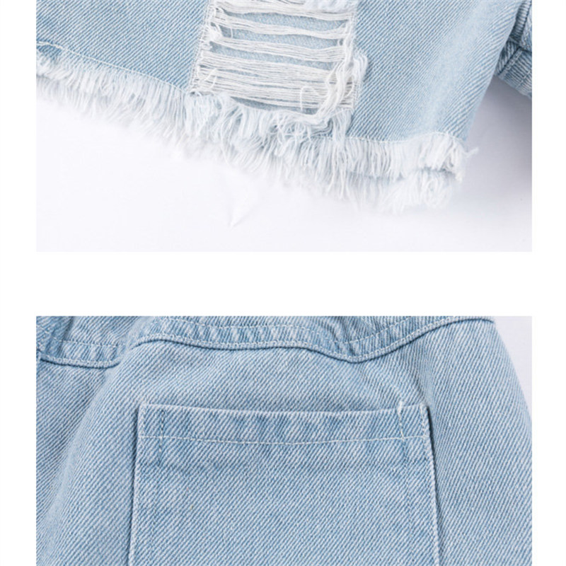 4-13 Year Old Girls Jeans Shorts 2020 Summer Girl Short Pants for Kids Ripped Jeans for Children Denim Shorts Letter Print 3