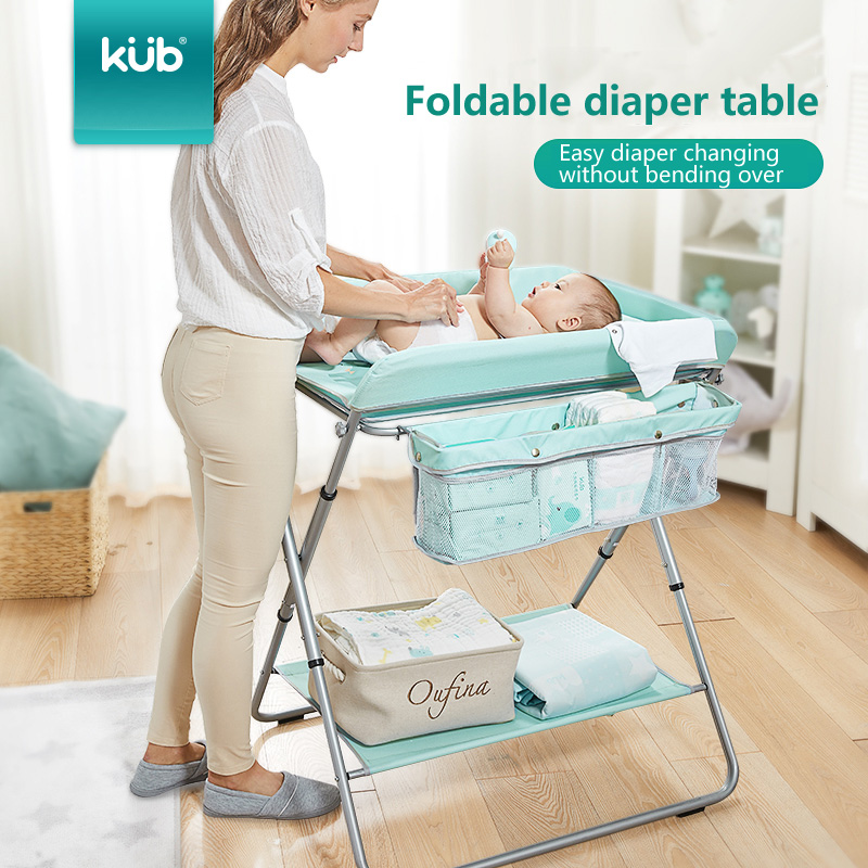 2019 New KUB Crib Foldable Large Space Storage Two Diaper Table Multi-function Portable Gear Adjustment Bathing Table
