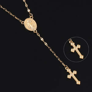Necklace Women Medal Jewelry Charm Cross-Pendant Long-Chain Clavicle Gold-Silver-Color