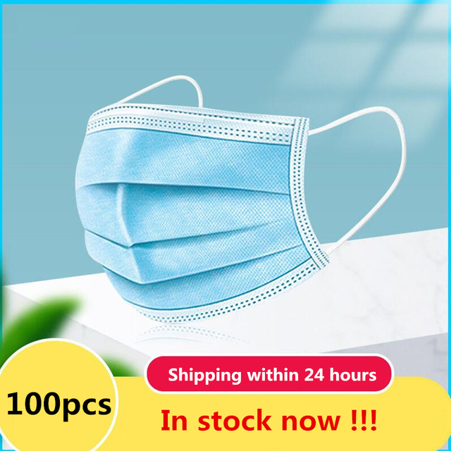 High Quality 100 PCS Non Woven Disposable Face Mask 3 Layers Earloop Anti-Dust Face Masks Disposable Mouth Mask