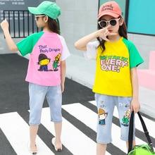 Cartoon T-shirt Kids Clothing Wholesale Summer Denim Clothes Sets Jean Trousers 2pcs Suits