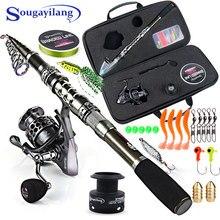 Sougayilang-canne à pêche télescopique et moulinet Combo, moulinet avec bobine gratuite, crochets de pêche, Kit complet pour sac de ligne de leurre