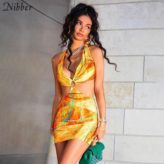 Nibber-Vestidos ahuecados con contraste salvaje para mujer, ropa de calle de retazos, informal, corte bajo, Halter, Sexy, de verano 1