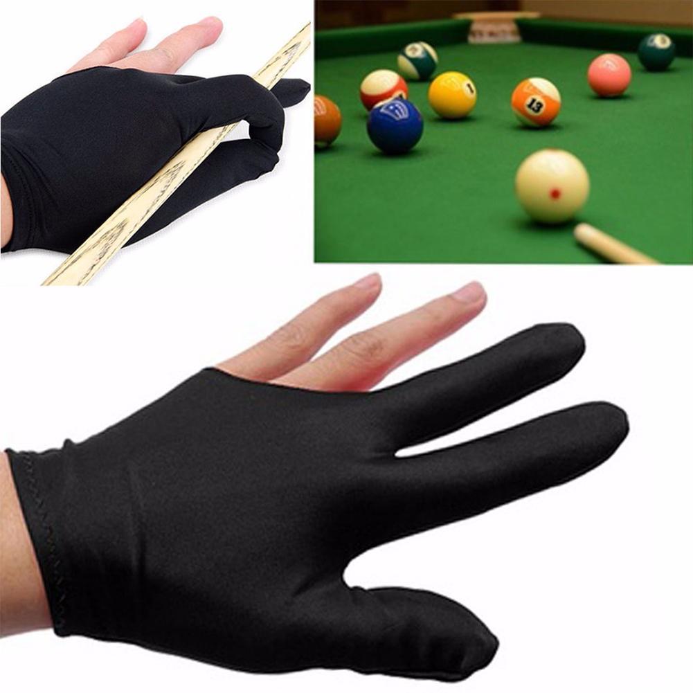 1Pair Lycra Fabric Snooker Billiard Cue Glove Pool Accessories Left Right Finger Three Black Hand W2M8