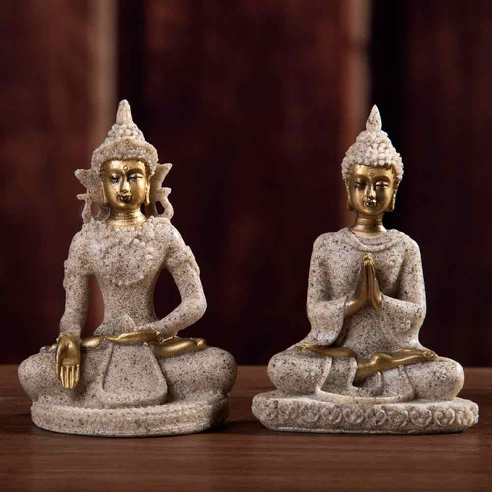 Sandstone Buddha Statue Sculptures Handmade Figurine DIY Decoration Crafts Buddha Figurine Office Home Decor