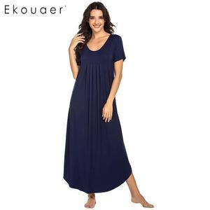 Image 4 - Ekouaer נשים ארוך כתונת לילה Loungewear שמלת Nightwear O צוואר קצר שרוול מוצק הלבשת לילה שמלת נקבה Sleepshirts