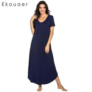 Image 4 - Ekouaer Vrouwen Lange Nachtjapon Loungewear Jurk Nachtkleding O hals Korte Mouwen Effen Nachtkleding Nacht Jurk Vrouwelijke Sleepshirts