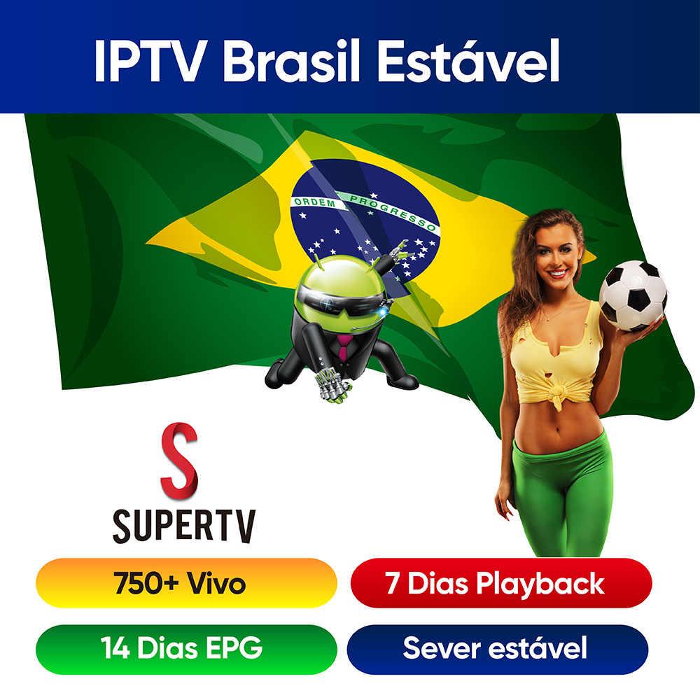 Supertv IPTV Brasil Unterstützt Supertv Vivo apk 1 Mes 4K HD Brasilien Portugiesisch EPG Wiedergabe Heißer Club für Android tv Box