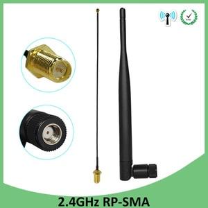 Image 1 - 5 pièces antenne 2.4 GHz wifi 5dBi WiFi antenne RP SMA mâle 2.4ghz antenne wi fi routeur + 21cm PCI U. FL IPX vers RP SMA mâle câble queue de cochon