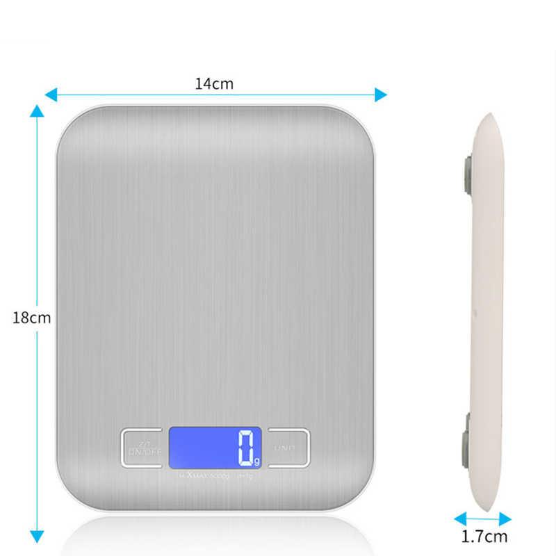 11 LB / 5000g электронные кухонные весы из нержавеющей стали цифровые пищевые весы с ЖК-дисплеем высокоточные измерительные инструменты