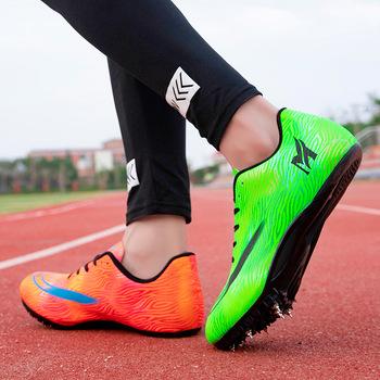 Unisex buty lekkoatletyczne Pu kolce trampki do biegania antypoślizgowe lekkoatletyka kolce do biegania złote srebrne paznokcie buty tanie i dobre opinie Akexiya Cotton Fabric Betonowej podłodze Profesjonalne Oddychające Masaż Średnie (b m) RUBBER Skręcanie Lace-up Spring2019