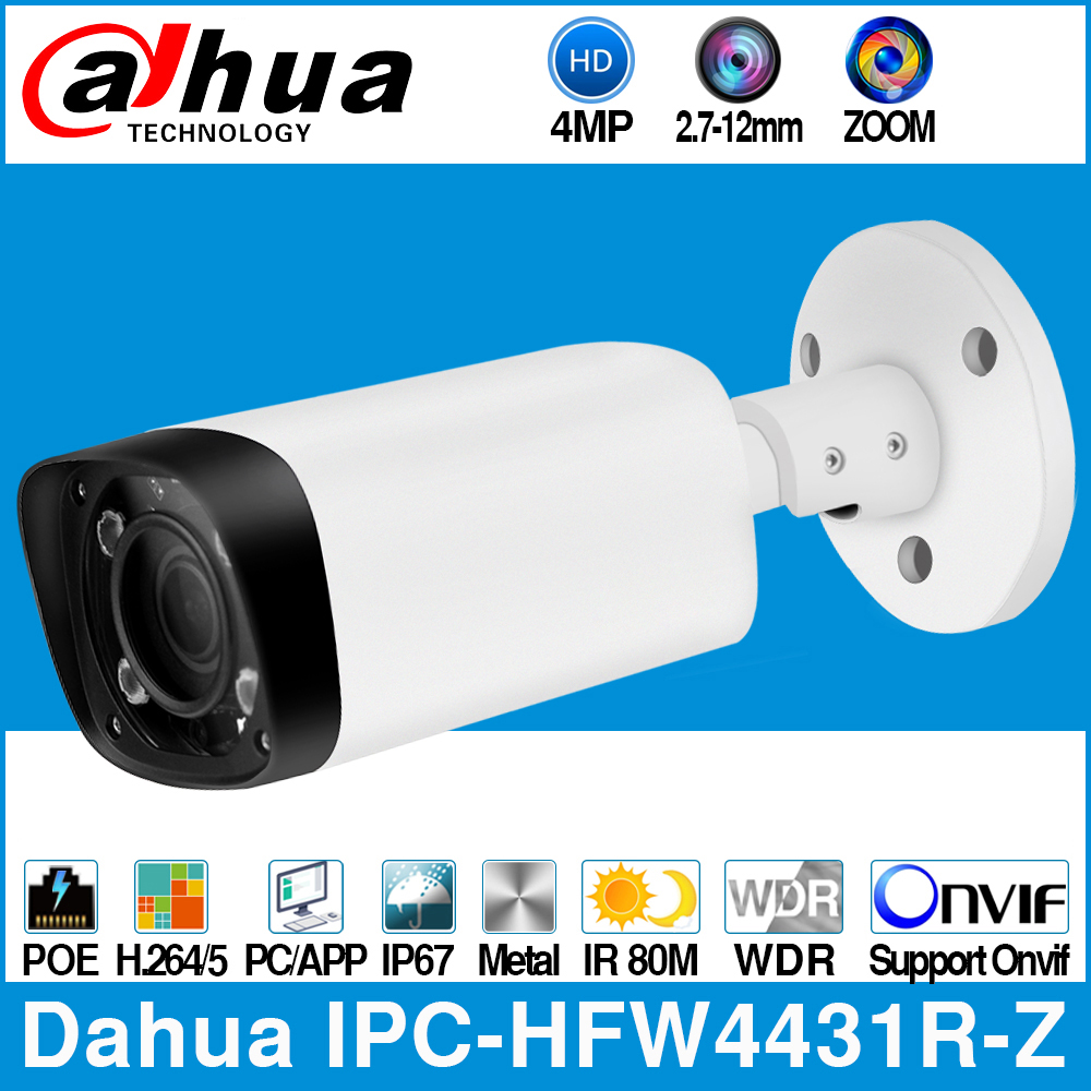 Dahua IPC-HFW4431R-Z 4MP POE Caméra IP 80m MAX IR Nuit 2.7 ~ 12mm VF lentille Zoom Motorisé Autofocus Balle Caméra De VIDÉOSURVEILLANCE DE Sécurité