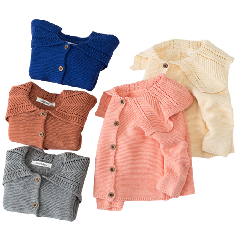 Baby Girls Cardigan 0-3 Years Old Baby Sweater Autumn Winter Lotus Leaf Collar Solid Color Children's Sweater Kids Baby Cardigan 1