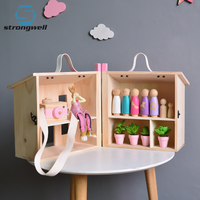 Strongwell Nordic Wood House Storage Box Movable Jewelry Box Organizer Photo Props Desk Home Decoration Children's Room Game Toy