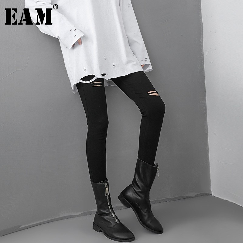 [EAM] High Waist Black Hollow Out Long Leisure Pencil Trousers New Loose Fit Pants Women Fashion Tide Spring Autumn 2019 JL991