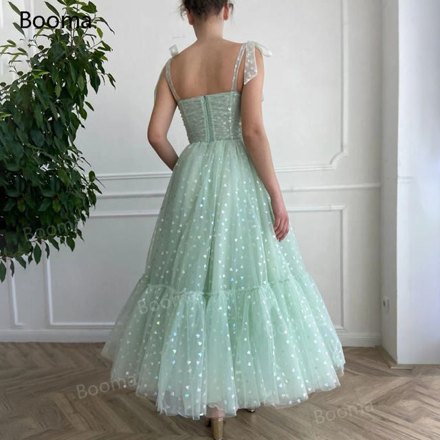 Booma Mint Green Hearty Prom Dresses 2021 Tied Bow Straps Sweetheart Midi Prom Gowns Pockets Tea-Length Wedding Party Dresses 4