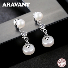 Pearl Earrings Natural Freshwater Pearl Long Chain Drop Earrings 925 Sterling Silver Jewelry For Women Pearl Jewelry 3 Color top quality real natural freshwater 3 color water drop hoop pearl earrings for women
