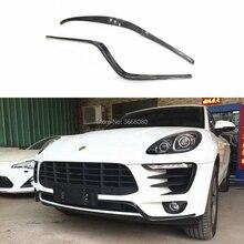 2 шт. для Porsche MACAN- бампер из углеродного волокна передний бампер сплиттер передний губы протектор автомобиля Стайлинг