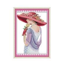 Красивая женщина, Набор для вышивки крестиком, модный 14ct 11ct, рисунок, печать, холст, вышивка, сделай сам, ручная работа, рукоделие