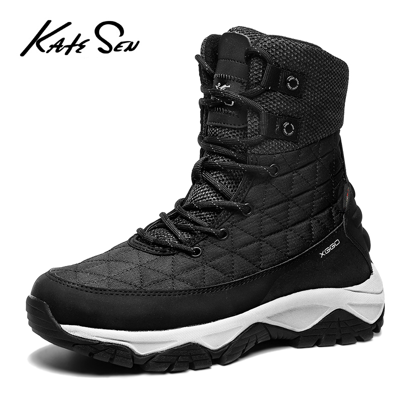 KATESEN New Fashion Men Boots High Quality Waterproof Ankle Snow Boots Shoes Warm Fur Plush Slip-On Winter Shoes Men Shoes