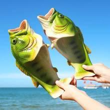 Unisex kapcie plażowe mężczyźni duży rozmiar 33-47 rodzina śmieszne ryby kapcie chłopcy letnie buty 2020 buty męskie Zapatos Para Mujer tanie tanio ZHUISHU CN (pochodzenie) Poza Niska (1 cm-3 cm) Pasuje prawda na wymiar weź swój normalny rozmiar Podstawowe Totem Lato