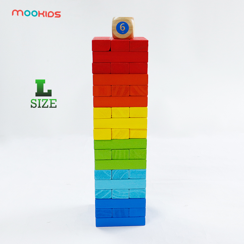 Mookids Children Educational Toys Jenga Juego  Free Shipping 54PCS Wooden Large Colorful Blocks Building Jenga Puzzle Board Game