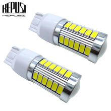 цена на 2pcs LED Car Light T20 7440 W21W 7440 7443 W21/5W LED Bulbs White 12V Auto Turn Signal Light Reverse lamp Tail Brake Lights