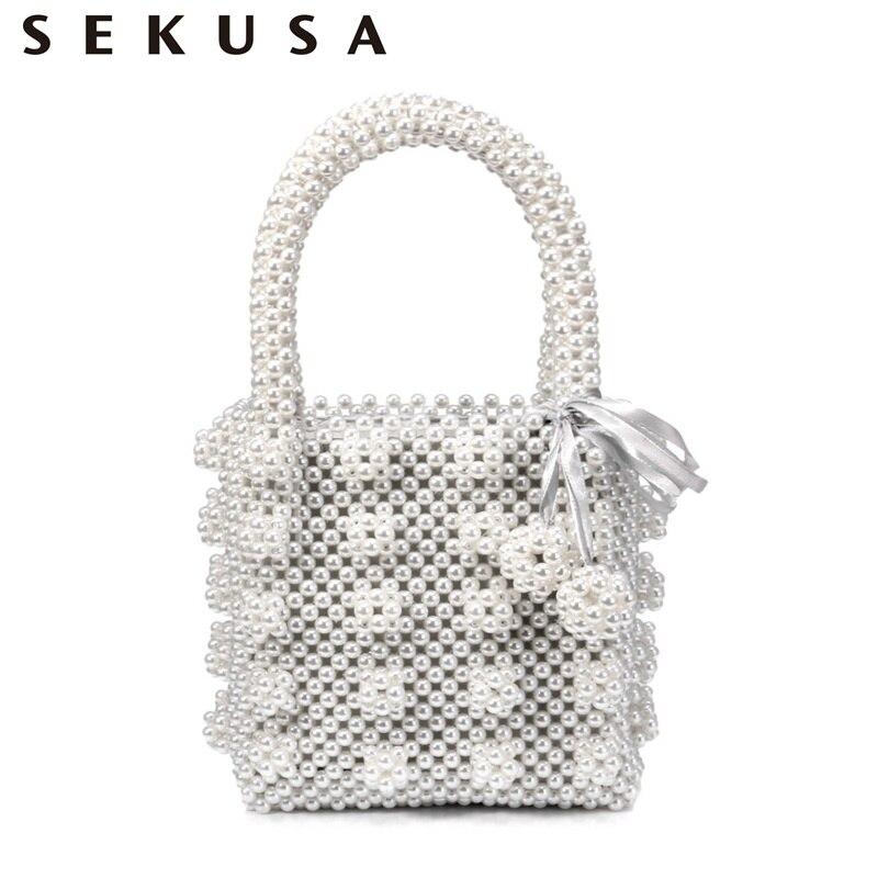 SEKUSA Brand Design Women Beaded Handbags With Pocket Money Purse Tassel Pearl Clutch Evening Bags For Party Holder Case