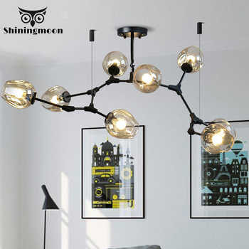 Modern E27 Black Iron LED Chandelier Lighting Suspension Line Indoor Living Room Chandeliers Light Fixture Bar Crystal Lustre - DISCOUNT ITEM  20% OFF All Category