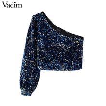 Vadim womne moda Sexy lentejuelas shinny blusa de un solo hombro elástico lado cremallera femenina parte de desgaste tapas cortas blusas LB724