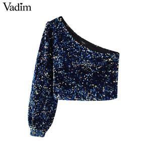 Image 1 - Vadim womne אופנה סקסי נצנצים shinny חולצה אחת כתף נמתח צד רוכסן צד נשי ללבוש יבול צמרות blusas LB724