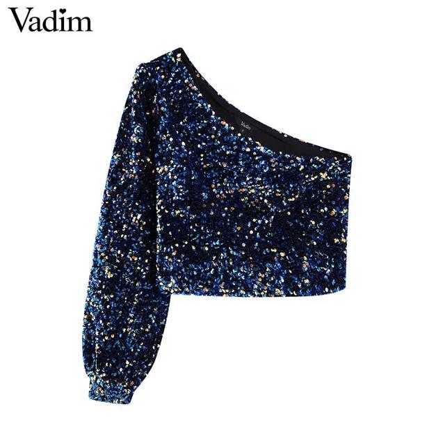 Vadim womne אופנה סקסי נצנצים shinny חולצה אחת כתף נמתח צד רוכסן צד נשי ללבוש יבול צמרות blusas LB724