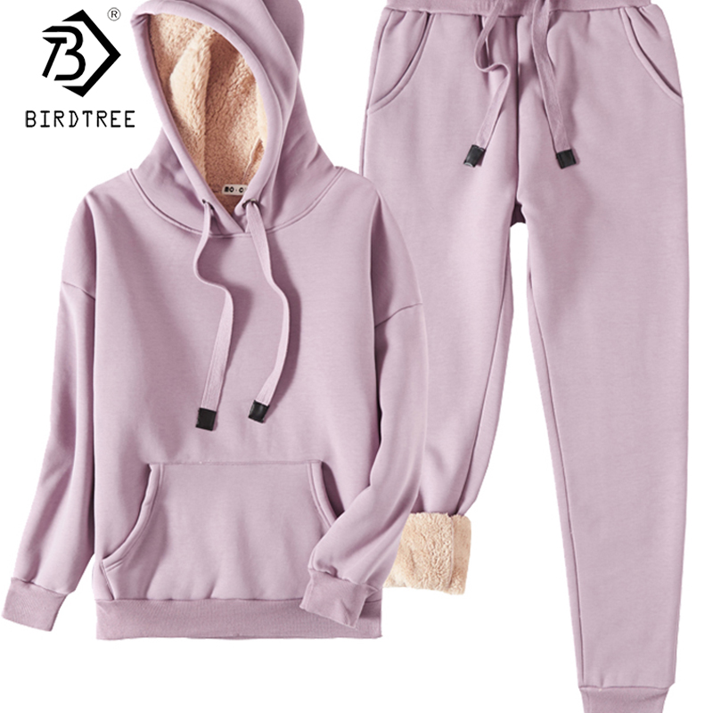 2019 Winter New Women's Velvet Tracksuit Fashion Two Pieces Set Hooded Full Sleeve Drawstring Thick And Warm Bodysuits S9N114K