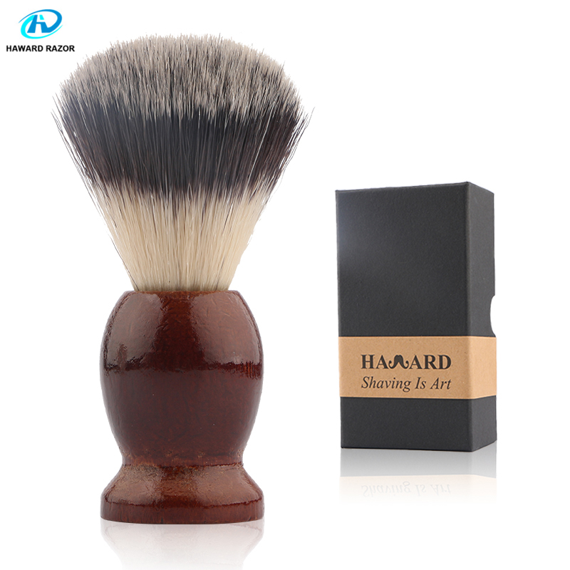 HAWARD Shaving Brush Synthetic Hair Men's Shaving Brush Classic Wooden Handle Beard Brush Use For Men's Facials(Facial Cleaning)