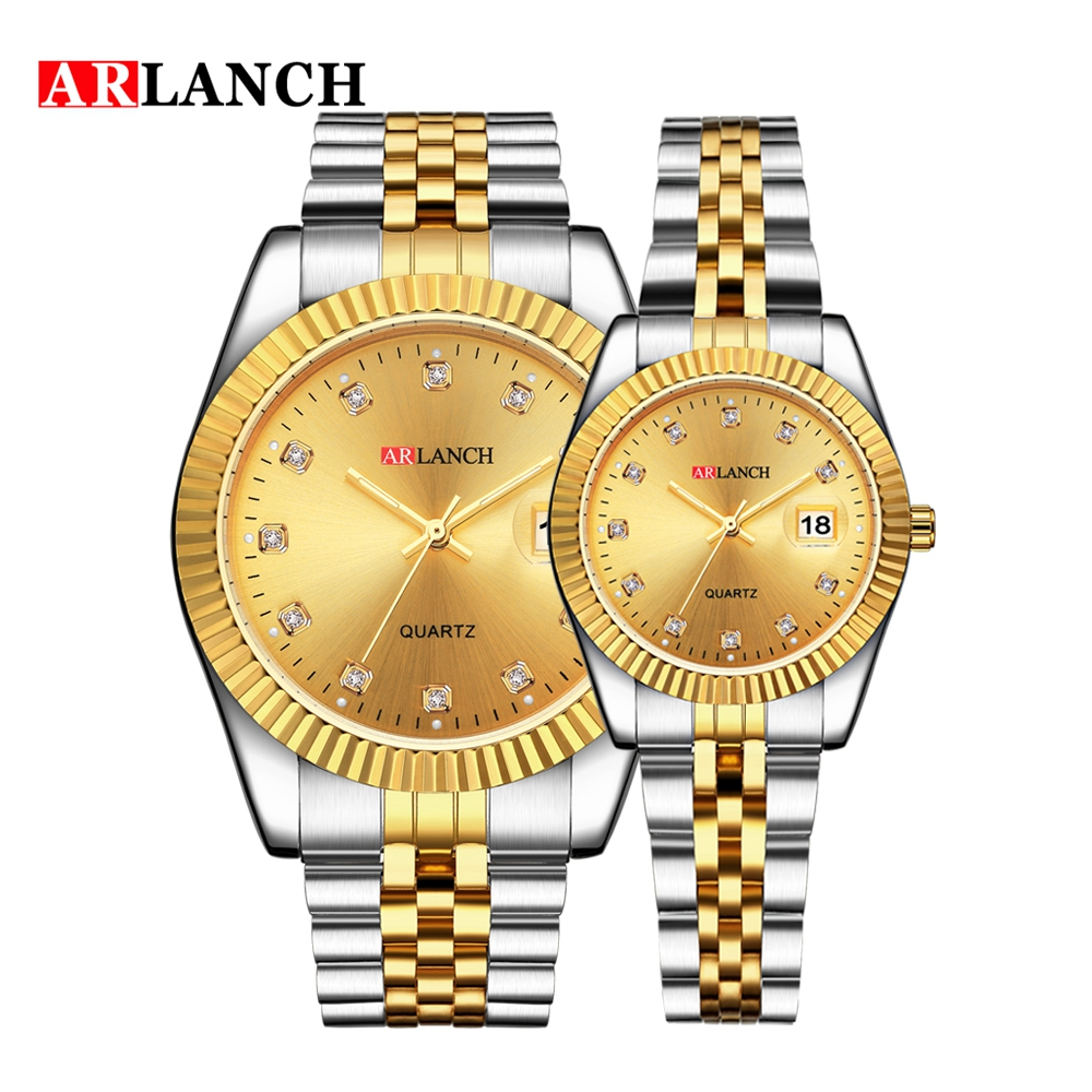 ARLANCH Couple Watch Mens Watches Top Brand Luxury Rhinestone Quartz Watch Women Clock Fashion Casual Waterproof Lovers Watch