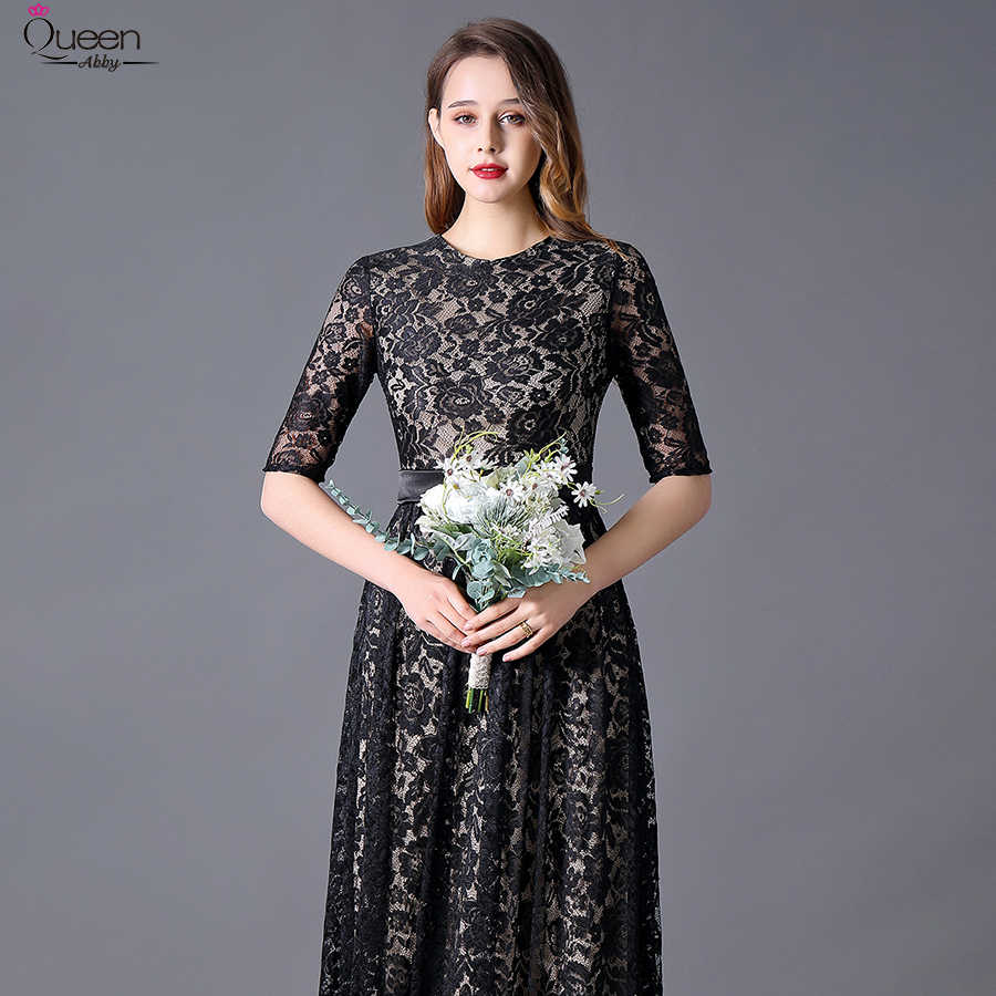Artı boyutu siyah dantel abiye İmparatorluğu uzun kraliçe Abby A-Line Scoop yarım kollu Sashes parti zarif düğün ziyaretçi önlük