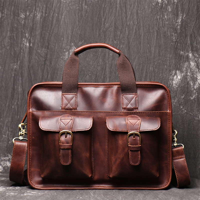 Full Grain Leather Men Briefcase Best Quality Business Shoulder Messenger Bags Office Handbag Leather Laptop Bag