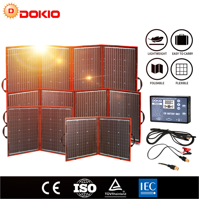 Dokio Flexible Foldable <font><b>Solar</b></font> <font><b>Panel</b></font> High Efficience Travel & Phone & Boat Portable <font><b>12V</b></font> 80w <font><b>100w</b></font> 150w 200w 300w <font><b>Solar</b></font> <font><b>Panel</b></font> Kit image