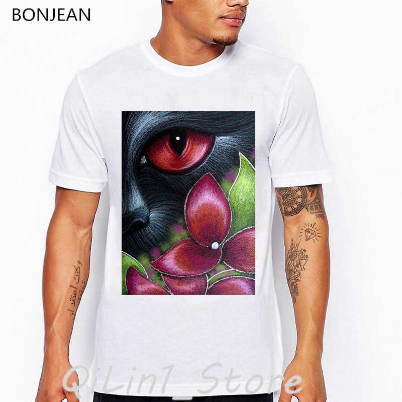 ZWARTE KAT ACHTER DE HORTENSIA BLOEMEN print t-shirt zomer 2019 vintage 3d t-shirt mannen hip hop tops tumblr kleding mens tshirt
