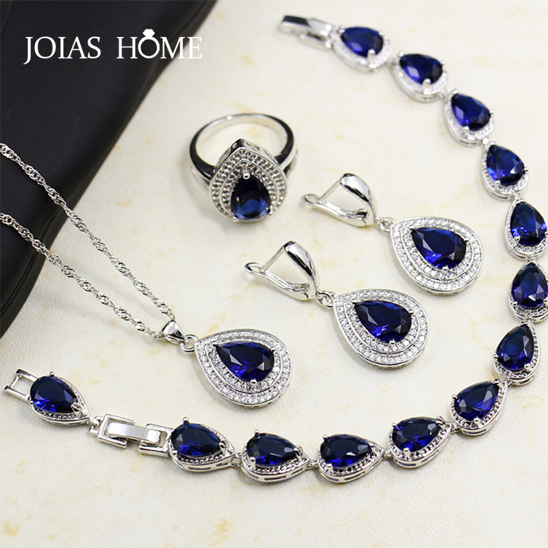 JoiasHome Fashion 925 Sterling Silver Jewelry Set Blue Sapphire Gemstones Heart Shaped Drops Bridal Accessories 4pcs/Lot