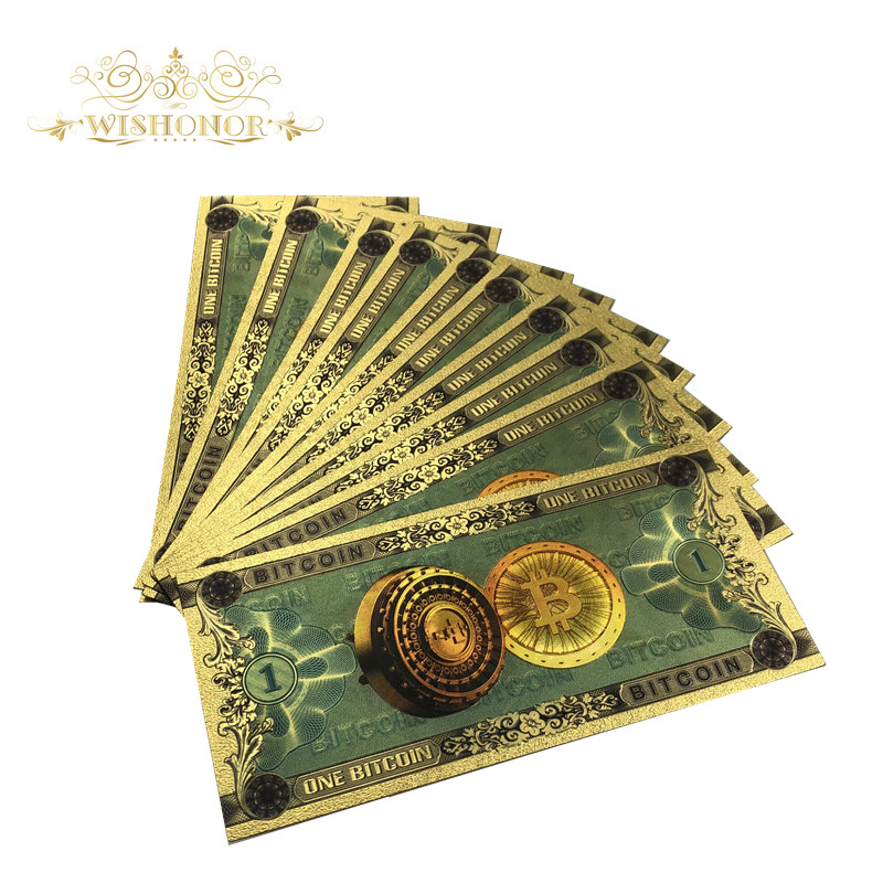 10pcs/lot Nice Color Gold Color Foil ONE BITCOIN Banknote BTC Bills Souvenir Banknotes For Collection