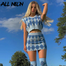 ALLNeon Y2K Aesthetics Argyle Plaid Knitted Co-ords Set E-girl Sleeveless Tank Tops and Mini Skirt Suit 2 Piece Vintage 90s Fall