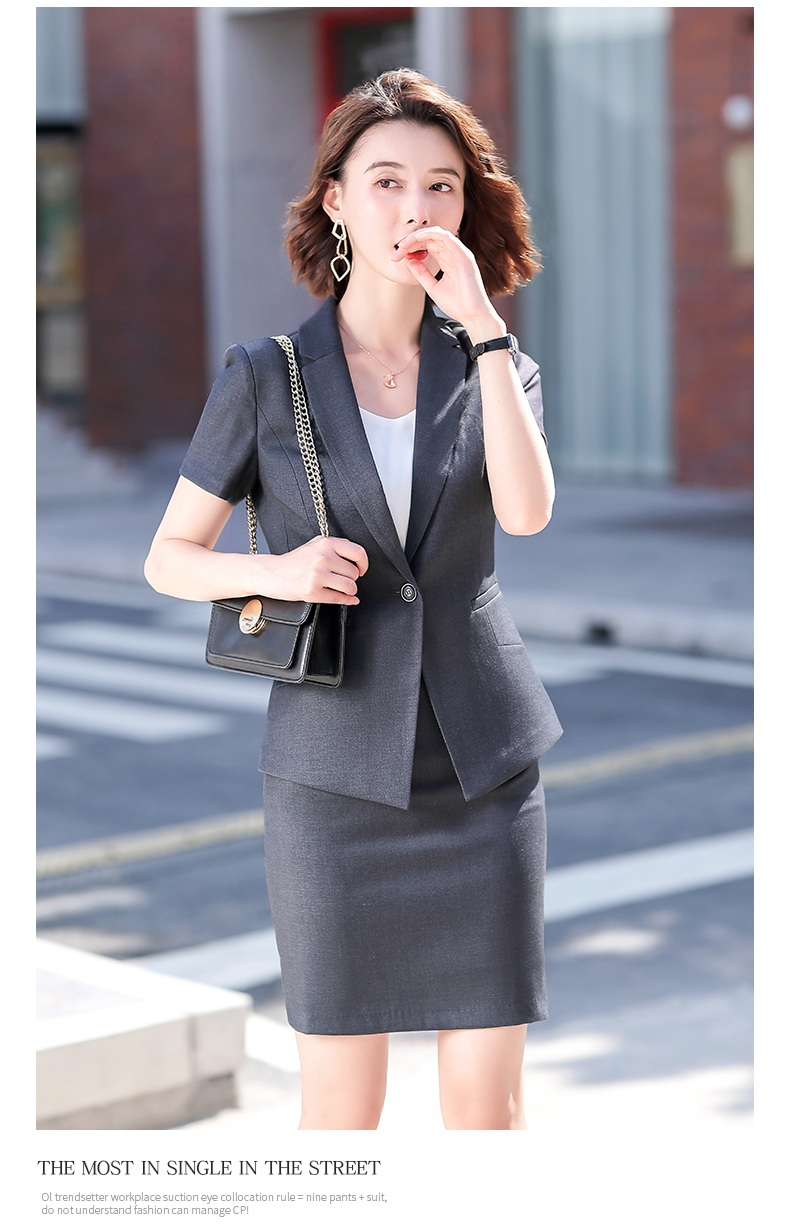 Female Elegant Formal Office Work Wear Summer Skirt Suits Women Business Suits Grey Black Blazer and Jacket Sets Ladies Clothes