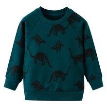 Jumping meter/Новое поступление; свитера для мальчиков на осень и весну; детская хлопковая одежда; топ с принтом животных; толстовки с динозаврами для мальчиков