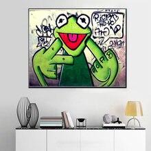 Уличные граффити хип хоп лягушка украшение живопись студия холст