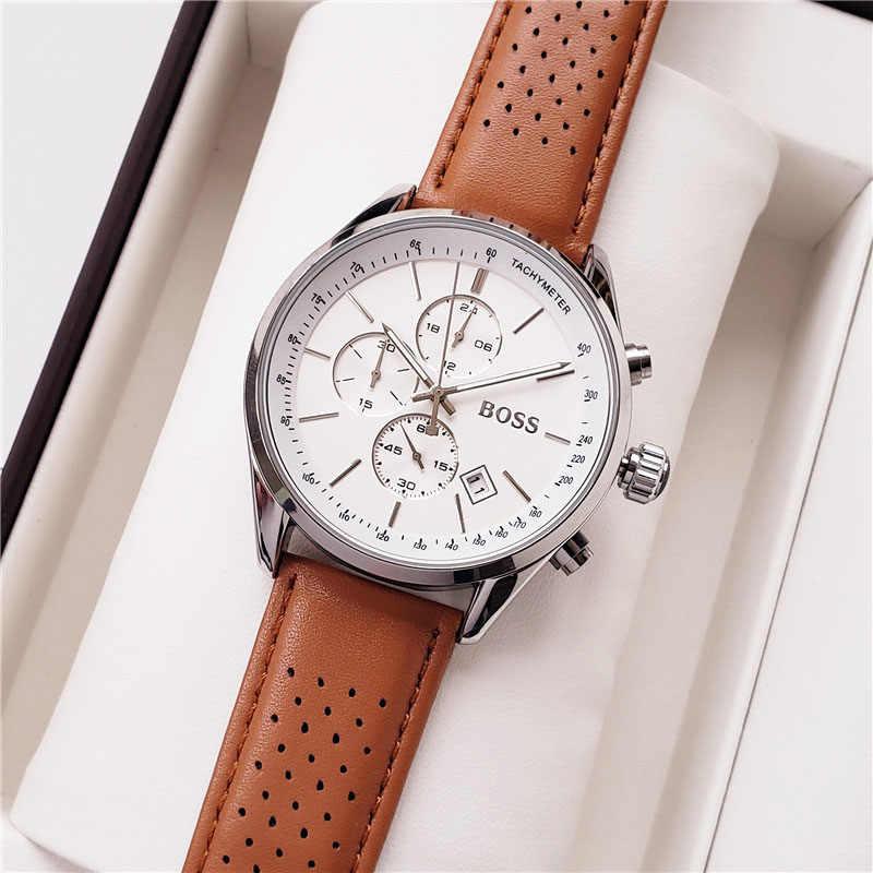 Reloj de pulsera para hombre de 44MM de lujo de marca de deporte Casual para hombre con cuero-1513475