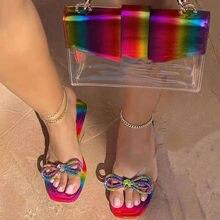 Designer bowtie chinelos das mulheres 2021 mulher strass apartamentos senhoras moda cores misturadas sandálias femininas sapatos de verão tamanho grande