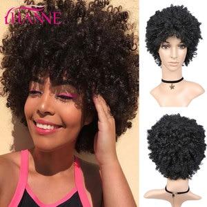 Image 1 - Hanne krótka brązowa naturalna peruka peruka z kręconych włosów typu Kinky peruka syntetyczna dla czarnej kobiety Cosplay afrykańskie fryzury peruki wysokotemperaturowe